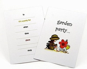 BUY 1 GET 1 FREE - Garden Party Fill In Invitation, Girls Party Theme, Garden Tea Party, Bridal Shower, or a 1st Birthday Party Theme 10pk