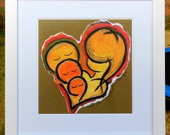 """14x14"""" Matted Print : I Love You x 3 in Brown"""