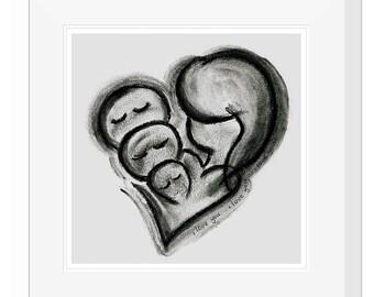 14x14'' Matted Art Print : I Love You x 3 - Charcoal