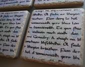 Celtic Gaelic Manuscript - Set of 4 Ceramic Coasters