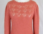 Vintage 1980s Apricot Knit Sweater