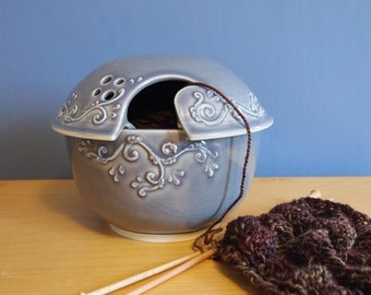 yarn bowl with scrolls in Lavender Grey