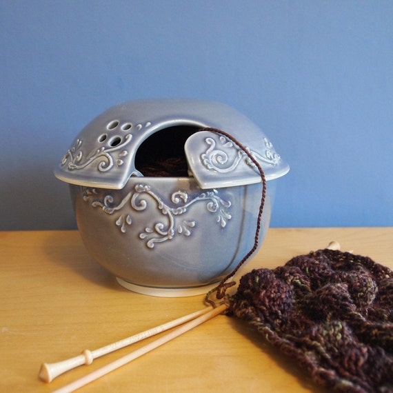 Reserved for cityknits--lavender grey yarn bowl with scrolls