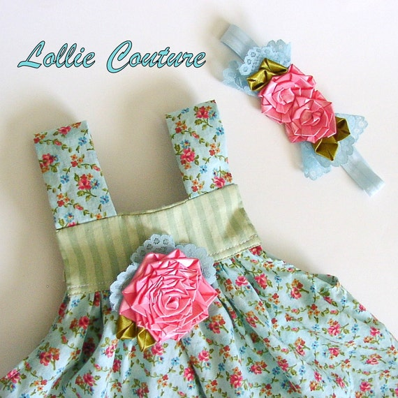 2pc Summer Giggles Baby Outfit...baby dress and headband