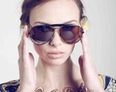Deadstock Vintage 1970's Black Aviator Unisex Sunglasses with Mirrored Lenses