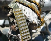 """25% Off Sale- Vintage 1960's-70's Thin Gold Metal Stretchy """"Snakeskin"""" Belt with Rhinestone Buckle"""