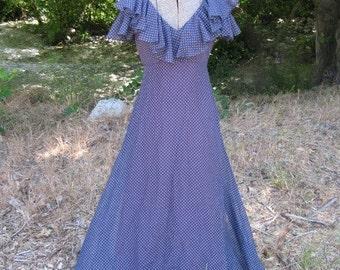 25% OFF SALE- Vintage 1970's Polka Dot Gown