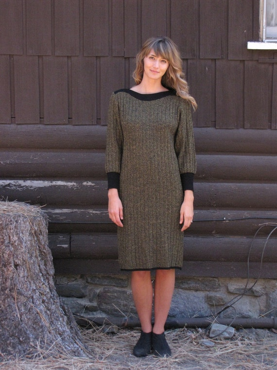 Vintage 1980's Black and Yellow Sweater Dress