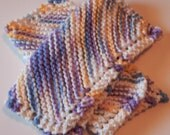 Knit Dishcloth Set of 2 in Purple, Blue, Yellow and White