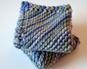 Dishcloth Set of 2 Handknit in Green and Purple
