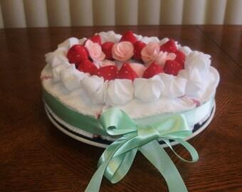 Felt Strawberry Cake with sprinkles