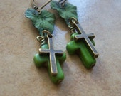 FORGIVEN - Earrings Blue-Green Verdigris Patina, small leaf and small crosses.