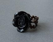 Midnight View - Gothic  Ring, Midnight  Black Flower Cabochon, Vintage Filigree