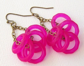 Fuschia Earrings,  Neon Pink Dangle Earrings, Shocking Pink Earings, Vintage Lucite Rings and Antique Brass