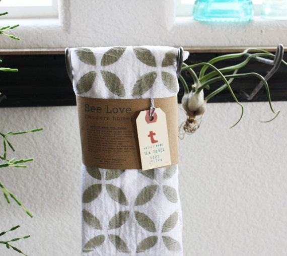 Tea Towels Printed For Schools: Items Similar To Geometric Hand Printed Tea Towel Huge 30