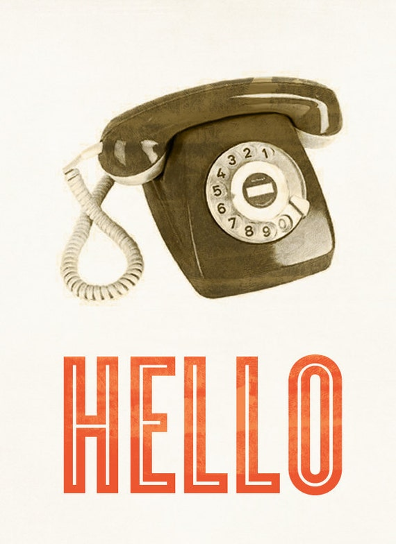 Hello Retro Phone Print