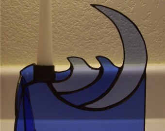 Crescent Moon Over the Ocean Candle Holder