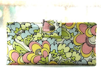 Wallet clutch womens   Handmade wallet in pastels floral yellow pink and green