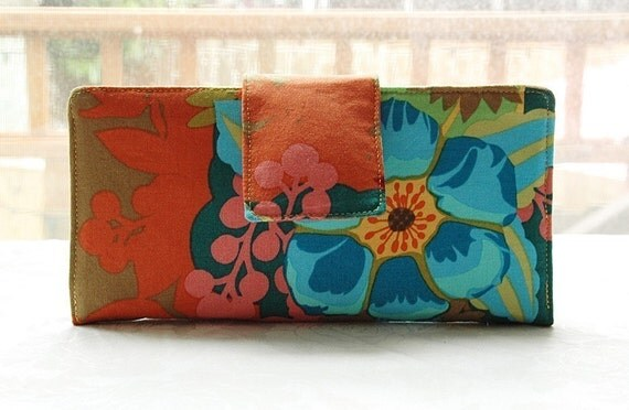 Bellissimo wallet handmade fabric blue and gold floral