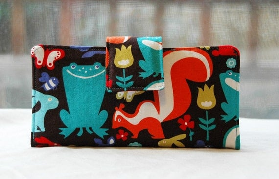 Handmade wallet animals on black