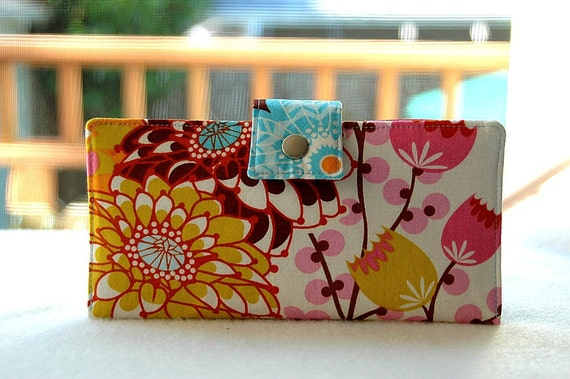 Handmade wallet in bold floral print