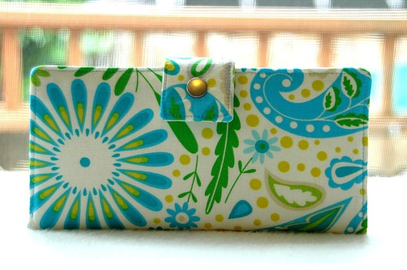 Women's Wallet   Handmade wallet in blue, green and yellow floral with paisley