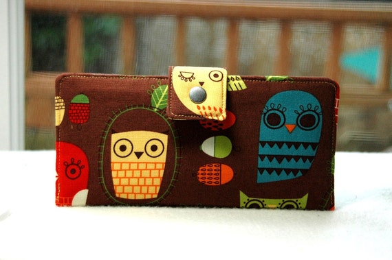 Wallet clutch womens   Bi fold wallet handmade clutch owls retro on brown