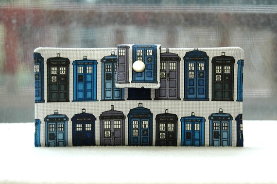 Reserved for Robyn Wallet clutch womens Police call box custom handmade vegan wallet cotton dr who