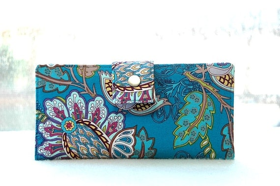 Handmade womens wallet   Handmade turquoise vegan wallet lovely print