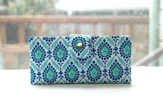 Last One handmade wallet vegan bifold wallet clutch blue and green