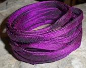3 yards of Purple hand loomed silk dupioni