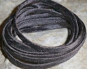 3 yards of decadent charcoal, hand loomed silk cording.