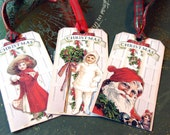 CO-528-Vintage Inspired Christmas Tags Children And Santas In Red On Shabby White Background Set of 6 Different Images
