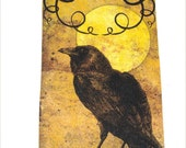 CO-470-Spooky Halloween Tags Set of 6 Different Images Crow Cat Bats Cauldron Owl Spider
