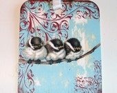CO-395- Fuzzy Baby Birds On A Branch On Blue Vintage Inspired Set of 6 Gift Tags