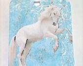 Wild White Stallion On Blue Gift Tags Set of 6 Nature Horse Animal