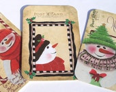 Snow People Tags - Set Of 5 - Christmas Snowmen - Christmas Tags - Variety Tags - Colorful Snowmen - Holiday Tags - Vintage Look -