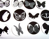 Modern Black And White Butterfly Stickers or Envelope Seals Set of 30