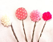 Pretty Pink Bobby Pins Set of 4