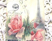 Misty Paris Tags - Set of 6 - French Gift Tags - Eiffel Tower Tags - Spring Flower Tags - Paris Spring Tag - Thank Yous