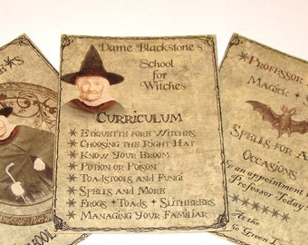 Witch School Tags - Set Of 8 - Halloween Tags - Prim Gift Tags - Holiday Tags - Thank Yous - Vintage Look - Spooky Halloween  - Large Tags