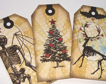 Gothic Christmas - Christmas Tags - Set of 5 - Skeleton Santa - Skull Wreath - Emo Christmas - Holiday Tags - Thank Yous - Unique Xmas Tags