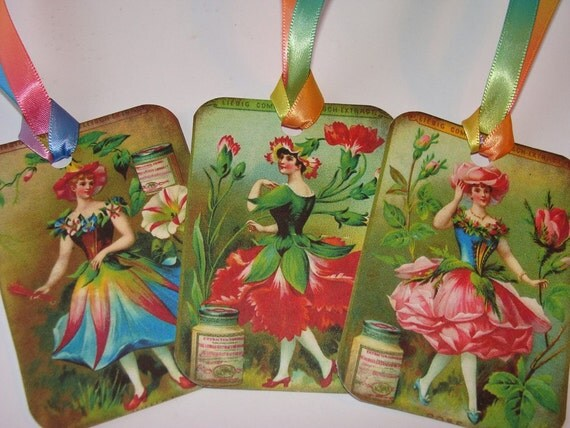 CO-189-Gift Tags Vintage Flower Fairy Set of 6 Different Images