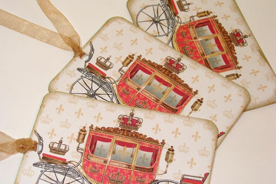 Red Carriage Tags - Set Of 6 - Royal Gift Tags - Carriage Tags - French Carriage - Vintage Tags - Thank Yous - Merchandise Tags