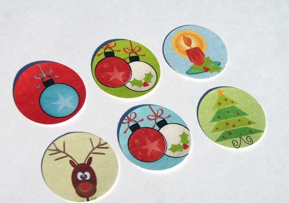 Christmas Stickers Modern Style Reindeer Ornaments Trees Candles Set of 22
