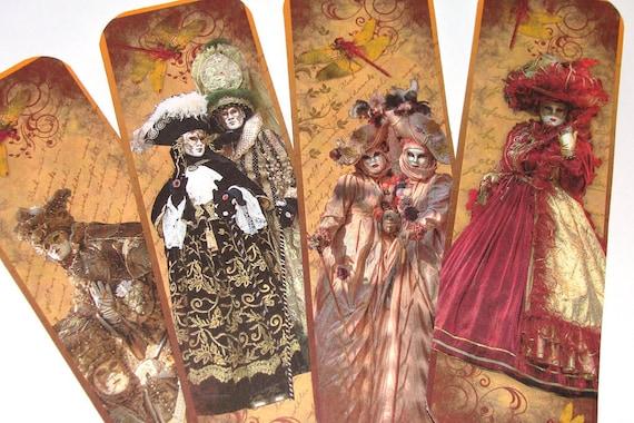 Masquerade Bookmarks -  Set Of 8   - Venice Masquerade - Carnevale - Costume Bookmarks - Book Accessory - Book Gift - Masked Ball -