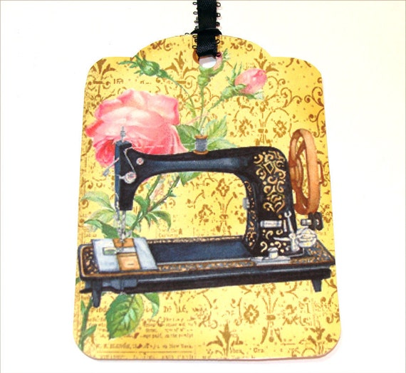 Sewing Machine Tags - Set of 4 - Vintage Look - Cottage Chic - Yellow Tags - Sewing Tags - Thank Yous - Gift Tags - Merchandise Tags -