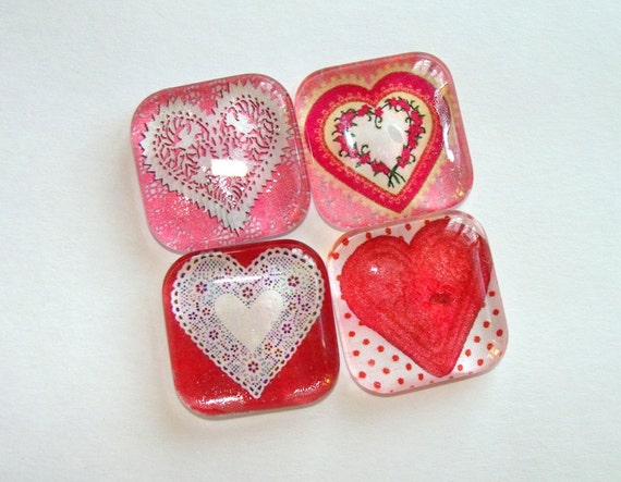 Valentine Hearts Glass Magnets Set of 4
