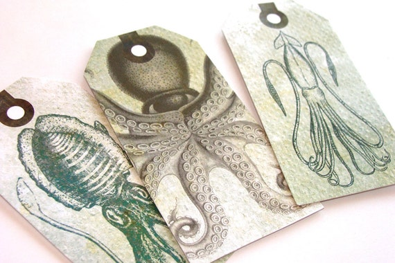 Octopus Tags - Set Of 6 - Squid Tags - Sealife Tags - Steampunk Tags - Sea Creatures - Ocean Tags - Thank Yous - Vintage Look  Tags -