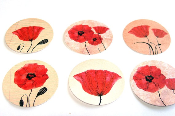 Poppy Flower Stickers or Envelope Seals in Red  Set of 22